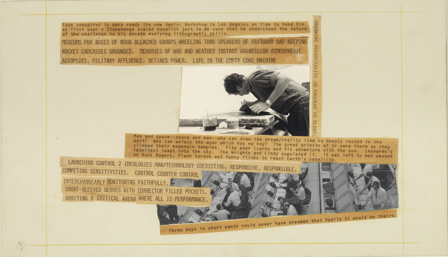 Robert Rauschenberg Stoned Moon Book, Page 3, 1970