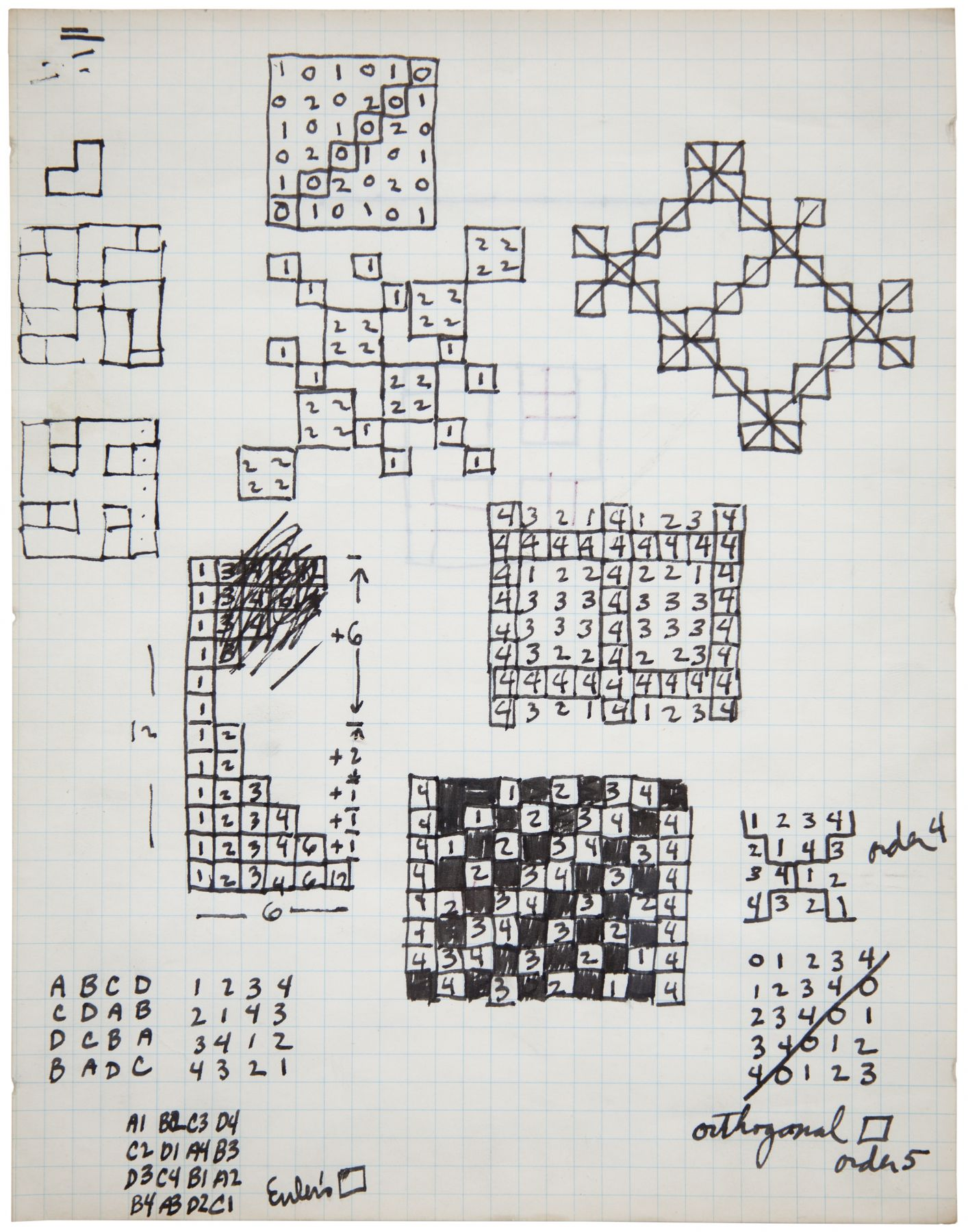 Mel Bochner,Untitled (Euler's Square),1966. Ink on graph paper, 11 x 8 1/2 inches.