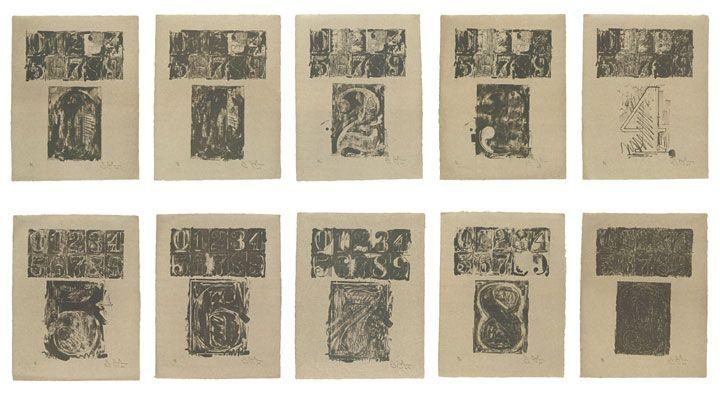 Jasper Johns, 0-9, 1963.