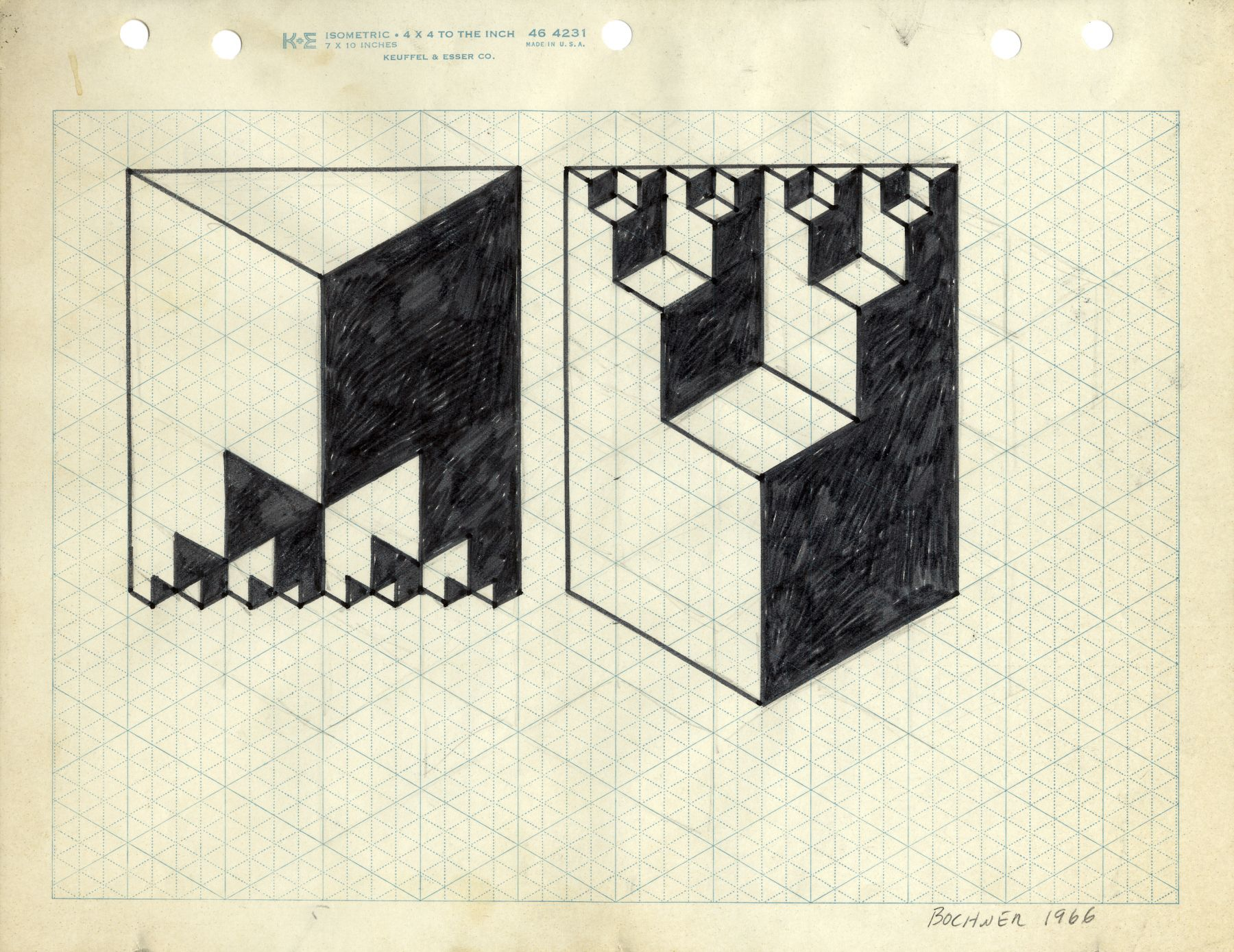Mel Bochner,Study for Double Solid Based on Cantor's Paradox,1966. Ink and pencil on graph paper, 8 1/2 x 11 inches.