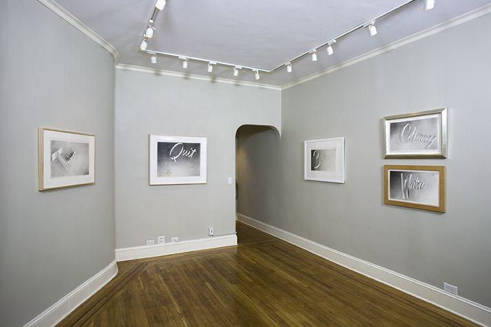 Installation view of Ruscha Gunpowder Ribbon Drawings at Craig F. Starr Gallery
