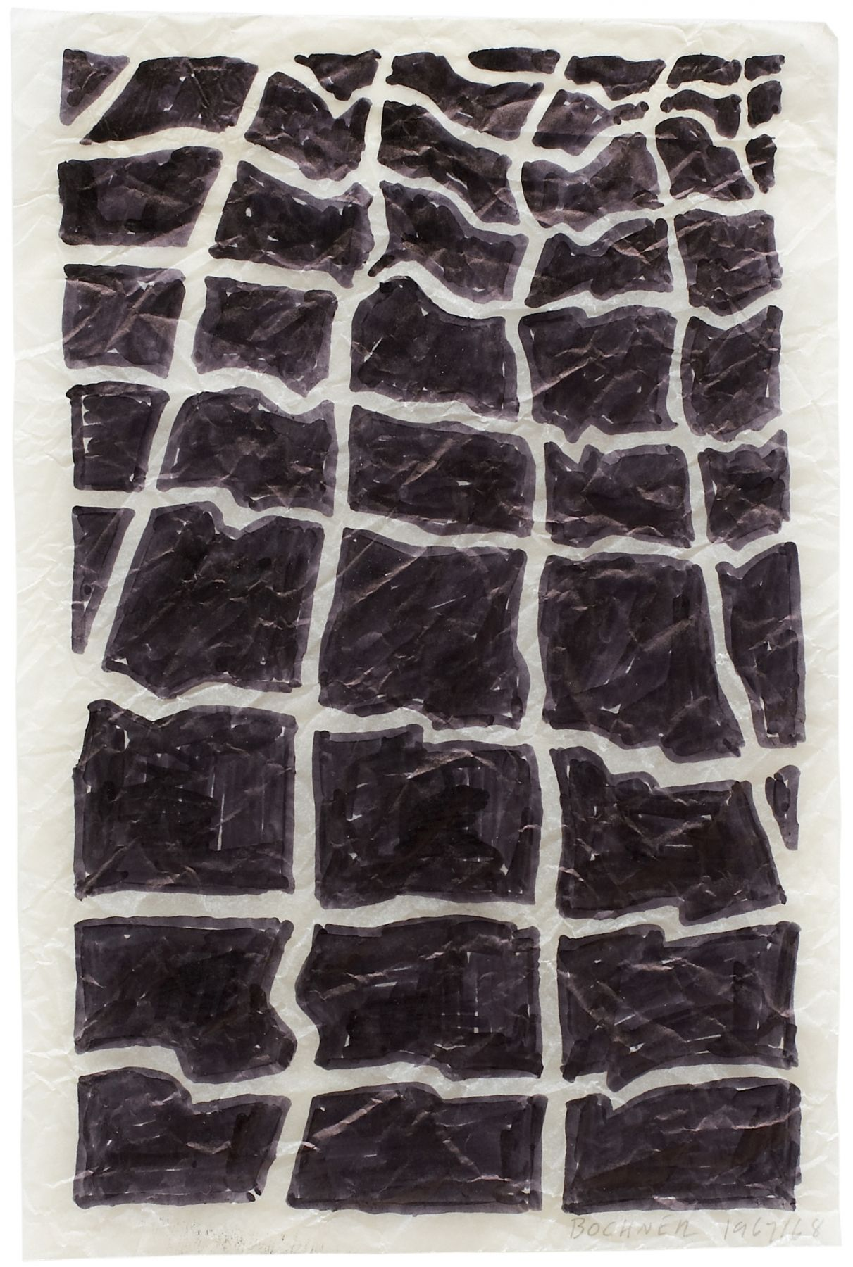 Mel Bochner,Tracing (Surface Deformation): Recrumpled,1967.