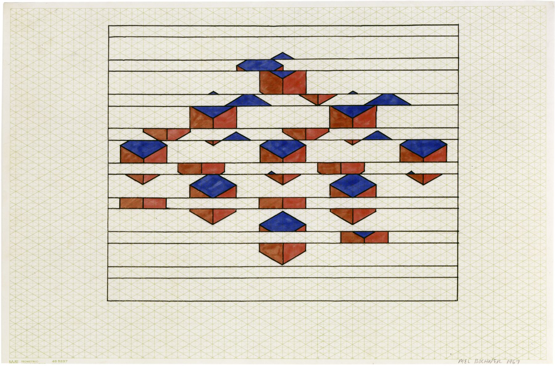 Mel Bochner,Constants and Variables: Horizontal Striations, 1967. Ink, felt tip pen, and pencil on graph paper, 13 x 19 inches.