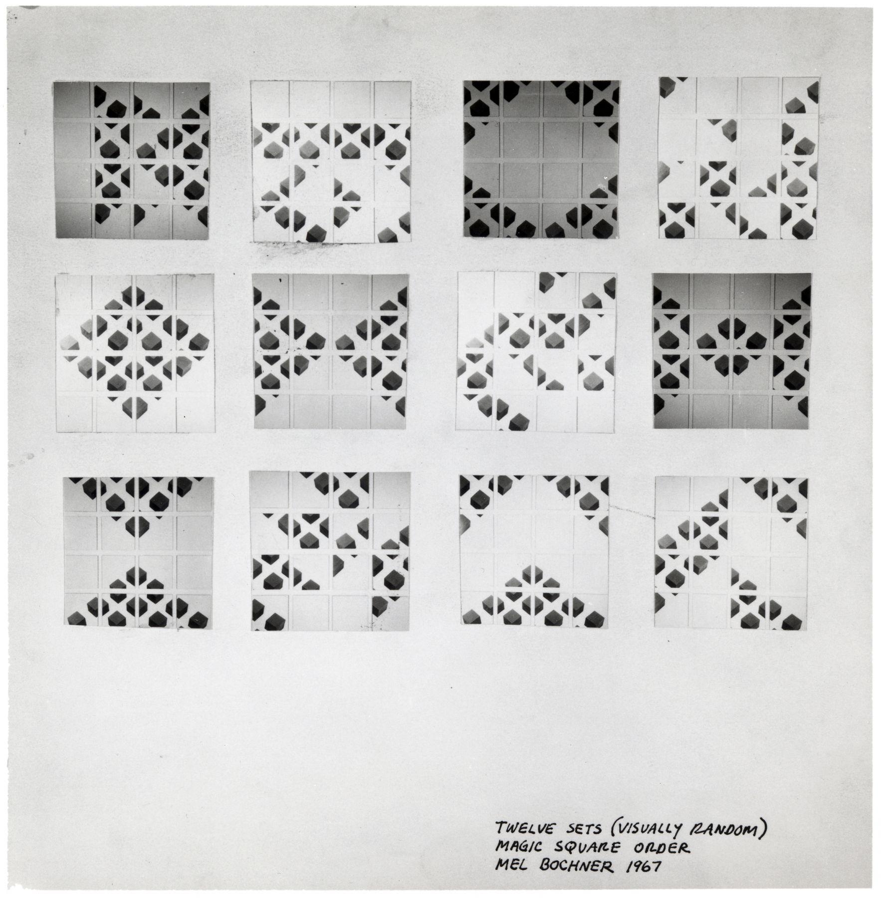 Mel Bochner,Twelve Sets (Visually Random) Magic Square Order, 1967.