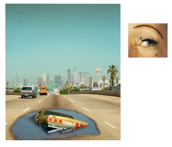 Alex Prager, 2pm, Interstate 110 and Eye # 6 (Sinkhole), from the series Compulsion, 2012