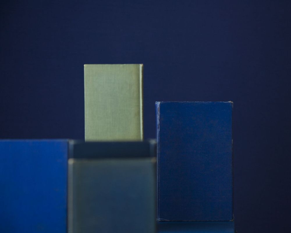Blue Books on Green, from the series Blue Books, 2010. Archival pigment print, 28 x 35, 20 x 25, or 14 1/2 x 18 inches.
