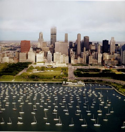 Sailboats and Skyscrapers, from the series Revealing Chicago, 2003, 30 x 30 or 40 x 40 inch chromogenic print