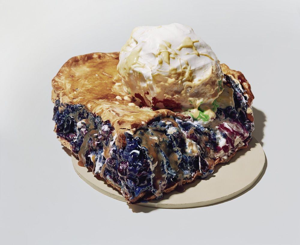 Photograph by Sharon Core. Blueberry pie with ice cream on top based on similar Claes Oldenburg sculpture