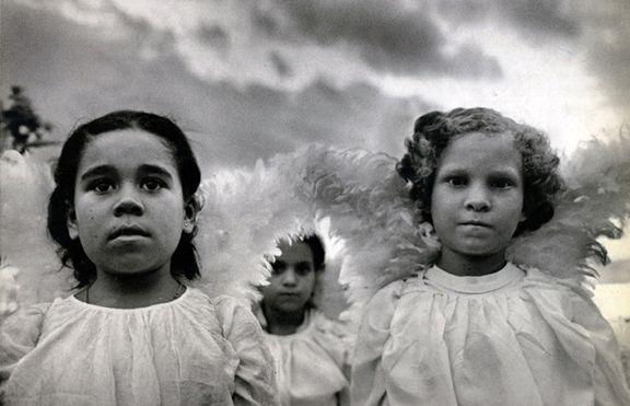 Three Communion Girls, Brasil, from the series Uncertain Grace, 1981. 16 x 20, 20 x 24, 24 x 35, 36 x 50 or 50 x 68 inch gelatin silver print