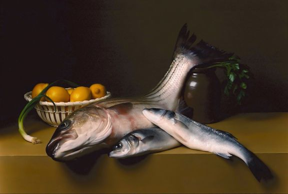 Early American, Still Life with Striped Bass, 2008. Chromogenic print,28 x 39 inches.