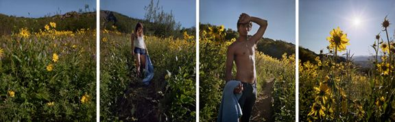Yellow, Blue, 2012. Four-panel archival pigment print, available as 24 x 900 or 40 x 120 inches.