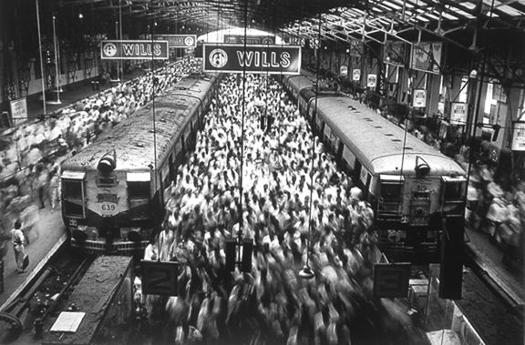 Churchgate Station, Bombay India, from the series Migrations, 1995. 16 x 20, 20 x 24, 24 x 35, 36 x 50 or 50 x 68 inch gelatin silver print