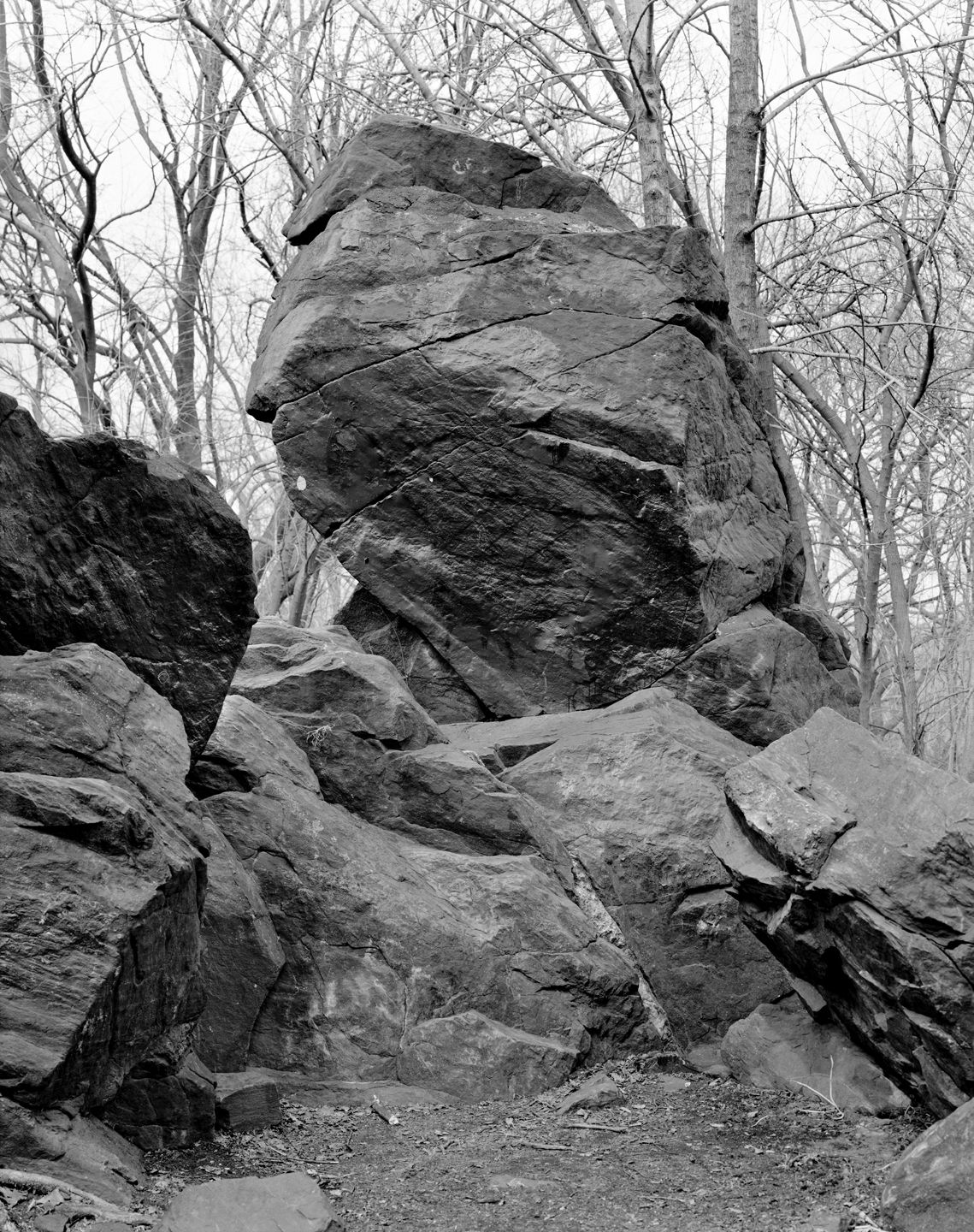 Indian Prayer Rock, Pelham Bay Park, Bronx, from the series Rocks and Clouds, 2014. Gelatin silver print, 40 x 30 or 68 x 54 inches.