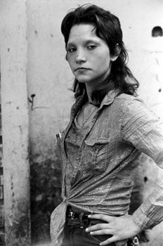 Teenage Girl with Sparkly Shirt and Cigarettes in Pocket, 1986, 11 x 14 inches, gelatin silver print