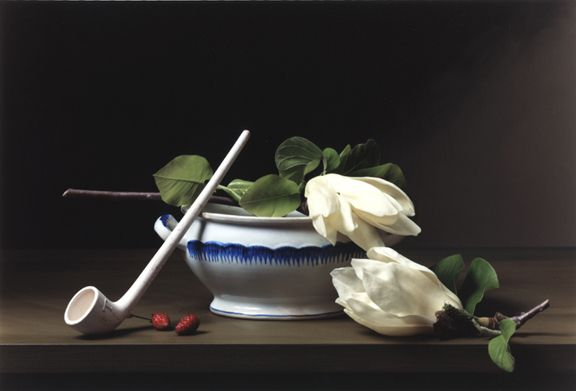Photograph by Sharon Core titled Early American, Still with Pipe of a white smoking pipe and two white flowers arranged in the style of a classical painting