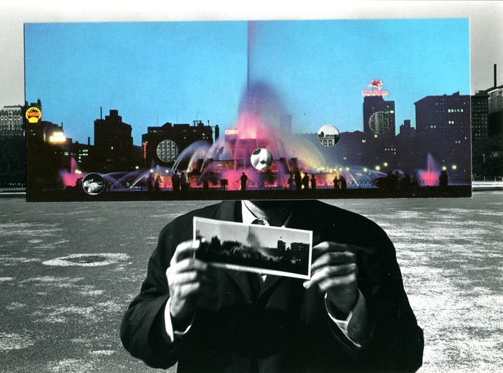 Kenneth Josephson,Postcard Visit, Chicago,1969. Vintage gelatin silver photograph and duotone collage,, 4 3/4 x 6 inches.