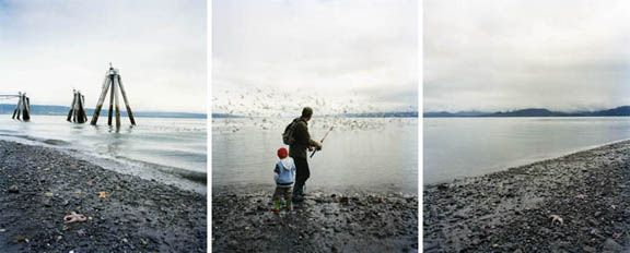 Water Breaking, 2008. Three-panel archival pigment print, available as24 x 60 or 40 x 90 inches.