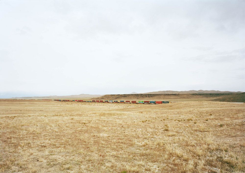 Untitled, (Container train), south of Delta, Utah,2017. Chromogenic print, 39 x 55 inches.