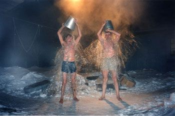 Apanas Michael and Pjotr after Bath-House, Siberia, 1994, 16 x 20 inch Chromogenic Print, Edition of 10