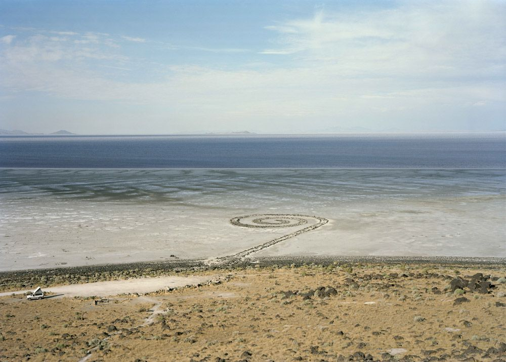 Untitled, (homage to Robert Smithson Spiral Jetty), Great Salt Lake, Utah, 2016. Chromogenic print, 39 x 55 inches.