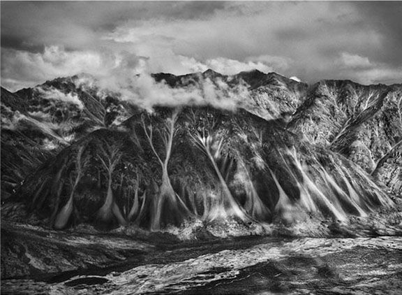 North-flowing Hulahula River emptying into the Arctic Ocean, from the series Genesis, 2009. 16 x 20, 20 x 24, 24 x 35, 36 x 50 or 50 x 68 inch gelatin silver print