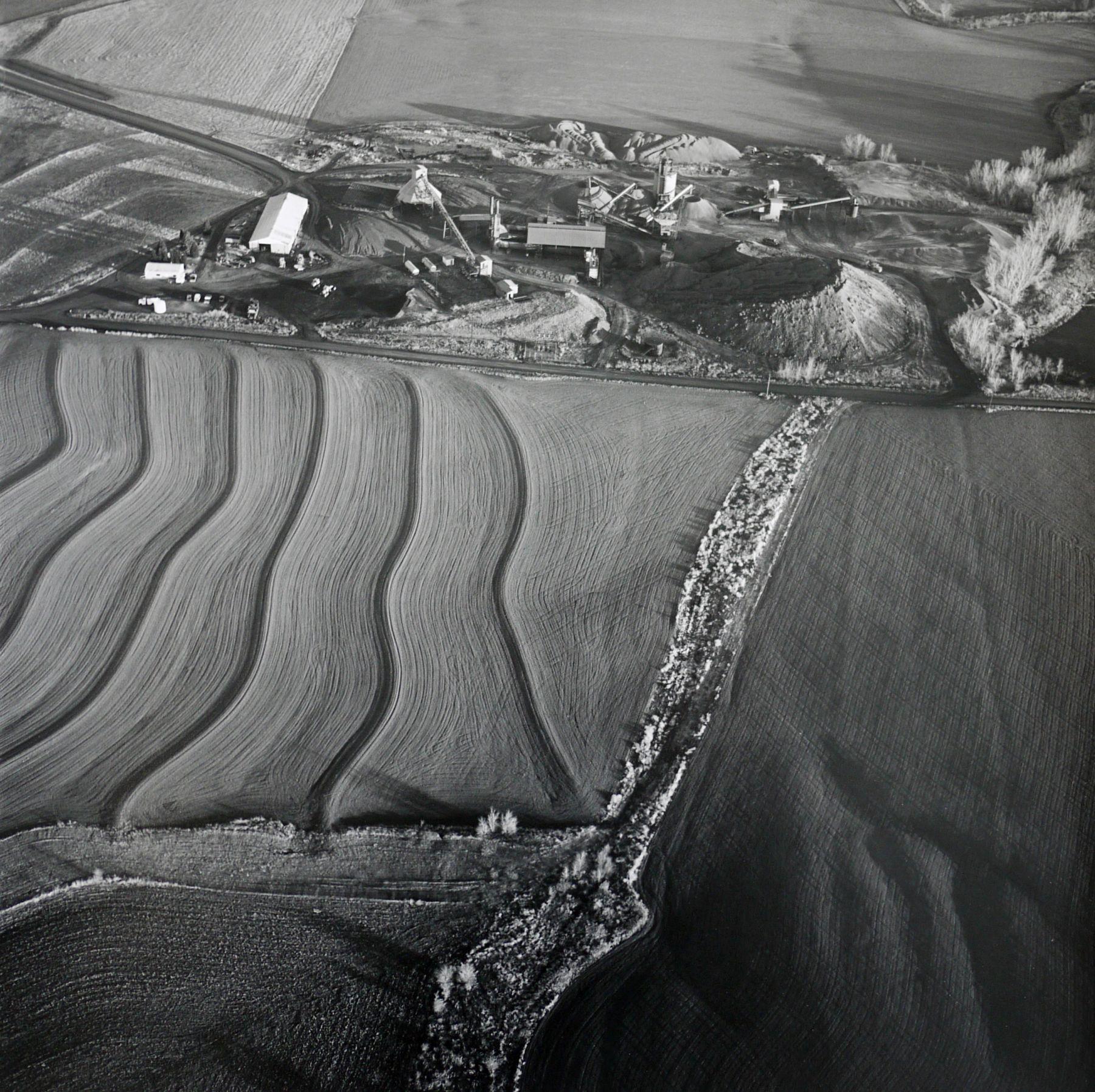 Field and Asphalt Pit, Saline County, February 7,  1991,15 x 15 inch gelatin silver print
