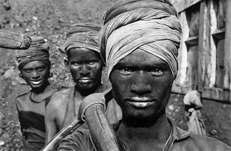 Three Coal Miners, India, from the series Workers, 1989. 16 x 20, 20 x 24, 24 x 35, 36 x 50 or 50 x 68 inch gelatin silver print