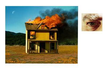 Alex Prager, 4:01pm, Sun Valley and Eye # 3 (House Fire), from the series Compulsion, 2012