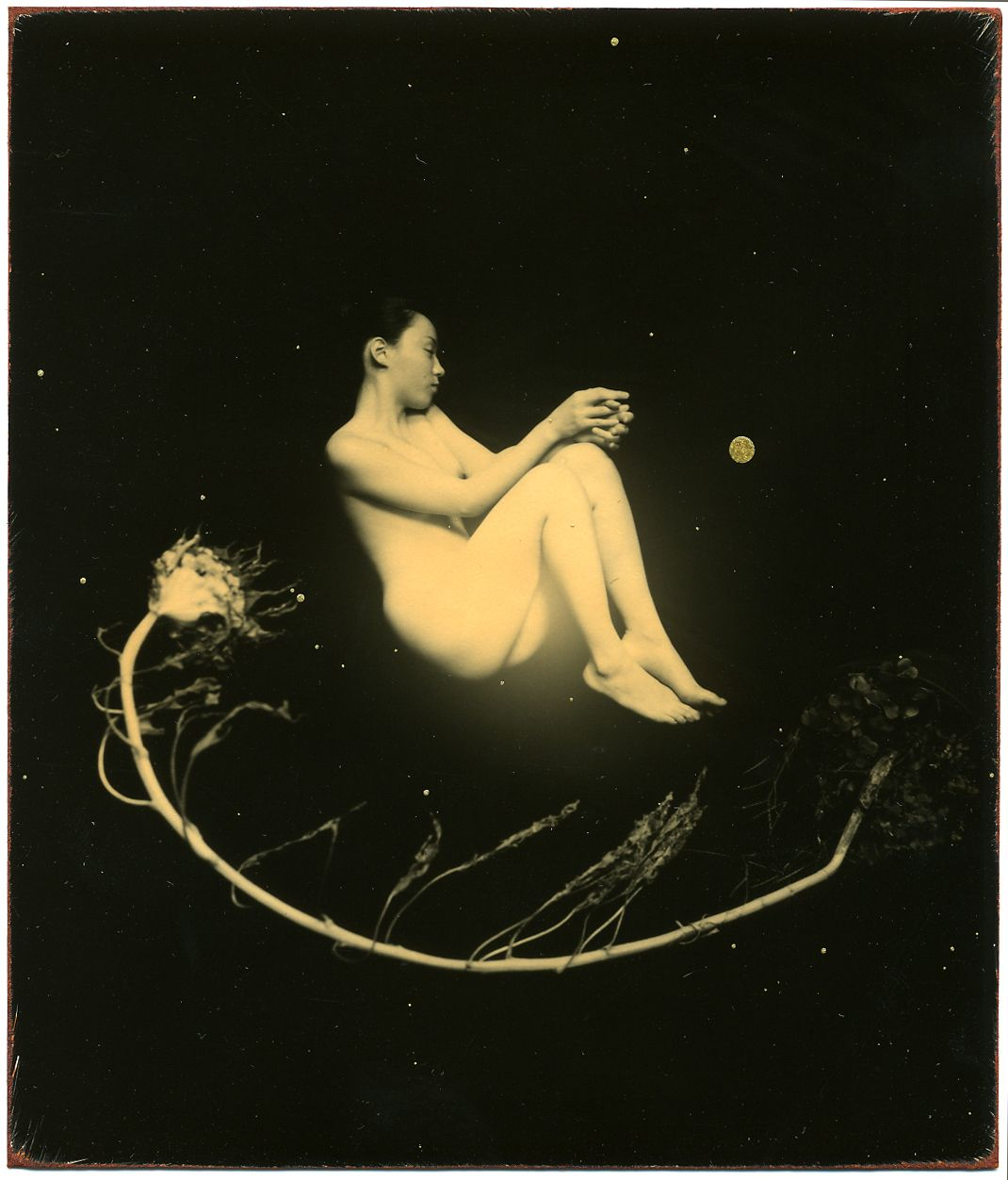 Masao Yamamoto,Untitled #1414from the seriesNakazora. Hand-toned gelatin silver print with gold paint,, 4 x 3 1/2 inches.