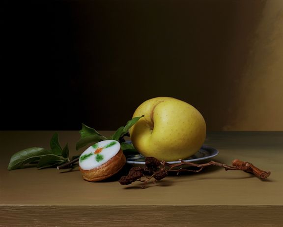 Early American, Still Life with Cake, 2008. Chromogenic print, 18 x 23 1/2 inches.