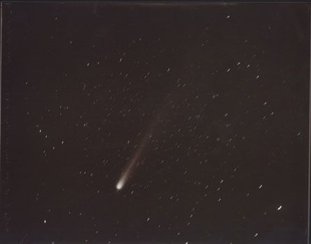 Halley's Comet, May 28, 1910, 1997, 8 x 10 inch Printing Out Paper Print, Signed, dated and titled on verso, Contact printed from the original glass plate negative:Lick Observatory Plate Archive