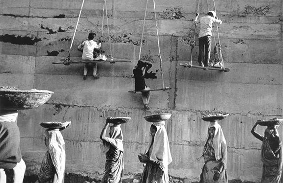 Women carrying mud and stones, Sandar, Sarovar Dam, Gujarat, India, from the series Workers, 1990. 16 x 20, 20 x 24, 24 x 35, 36 x 50 or 50 x 68 inch gelatin silver print