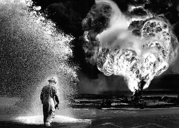 Foam and Fire, Kuwait, from the series Workers, 1991. 16 x 20, 20 x 24, 24 x 35, 36 x 50 or 50 x 68 inch gelatin silver print