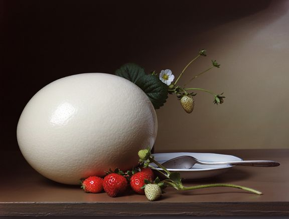 Early American, Strawberries and Ostrich Egg, 2007. Chromogenic print, 23 x 17 inches.