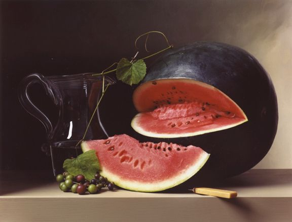 Photograph by Sharon Core titled Early American, Melon and Picher of a large melon and water pitcher arranged in the style of a classical painting