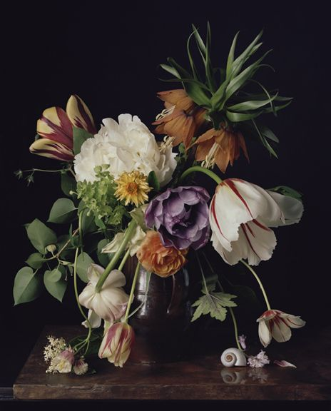 Photograph by Sharon Core titled 1726 from the series 1606-1907 of a floral still life arranged in the style of a classical painting