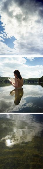 Jackie Immersed, 2007. Three-panel archival pigment print, available as 72 x 20 or 120 x 40 inches.
