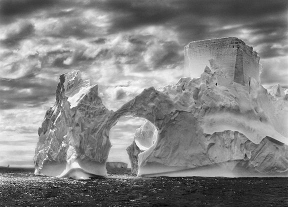 Iceberg between Paulet Island and the Shetland Islands, Antartica, from the series Genesis, 2005. 16 x 20, 20 x 24, 24 x 35, 36 x 50 or 50 x 68 inch gelatin silver print