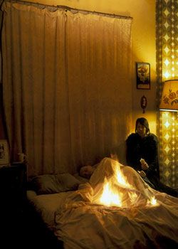 Lover set on Fire in Bed, 2003, 60 x 48 inch Cinachrome Print, Signed, titled, dated and editioned on label on verso, Edition of 7