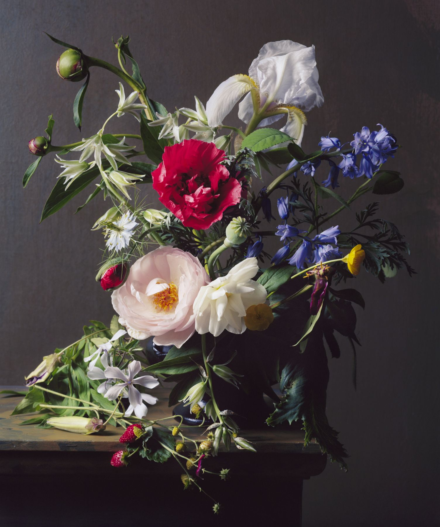 Photograph by Sharon Core titled 1841 from the series 1606-1907 of a floral still life arranged in the style of a classical painting