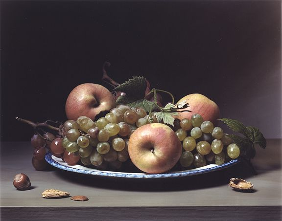 Early American, Still Life with Apples and Grapes,2009. Chromogenic print,14 3/4x 19 inches.