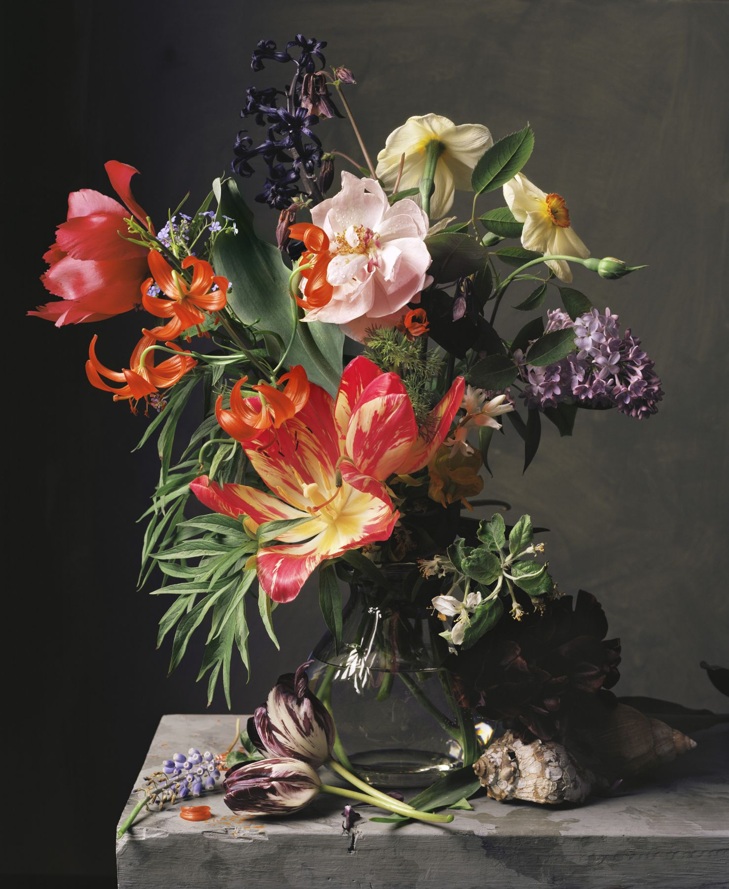 Photograph by Sharon Core titled 1661 from the series 1606-1907 of a floral still life arranged in the style of a classical painting