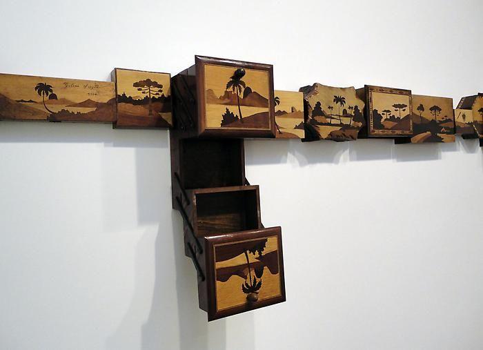 "Horizontes III (detail), 201019 inlaid wood boxes20"" x 13' x 7 3/4""VS 25"