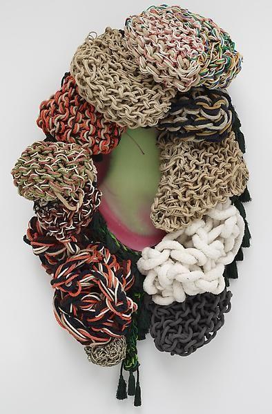 SissiRivolto, 2009Ecoline on canvas, yarn, tassels42.52 x 33.46 x 15.75 inches (108 x 85 x 40 cm)
