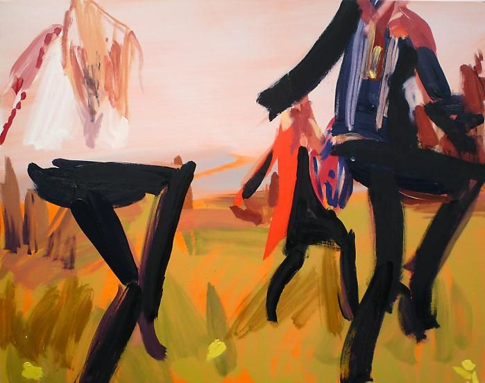 Bryn McConnell(Gucci Fall 2008) Tall black boots and meadow, 2008Oil on canvas18 x 24 inches (45.7 x 61 cm)