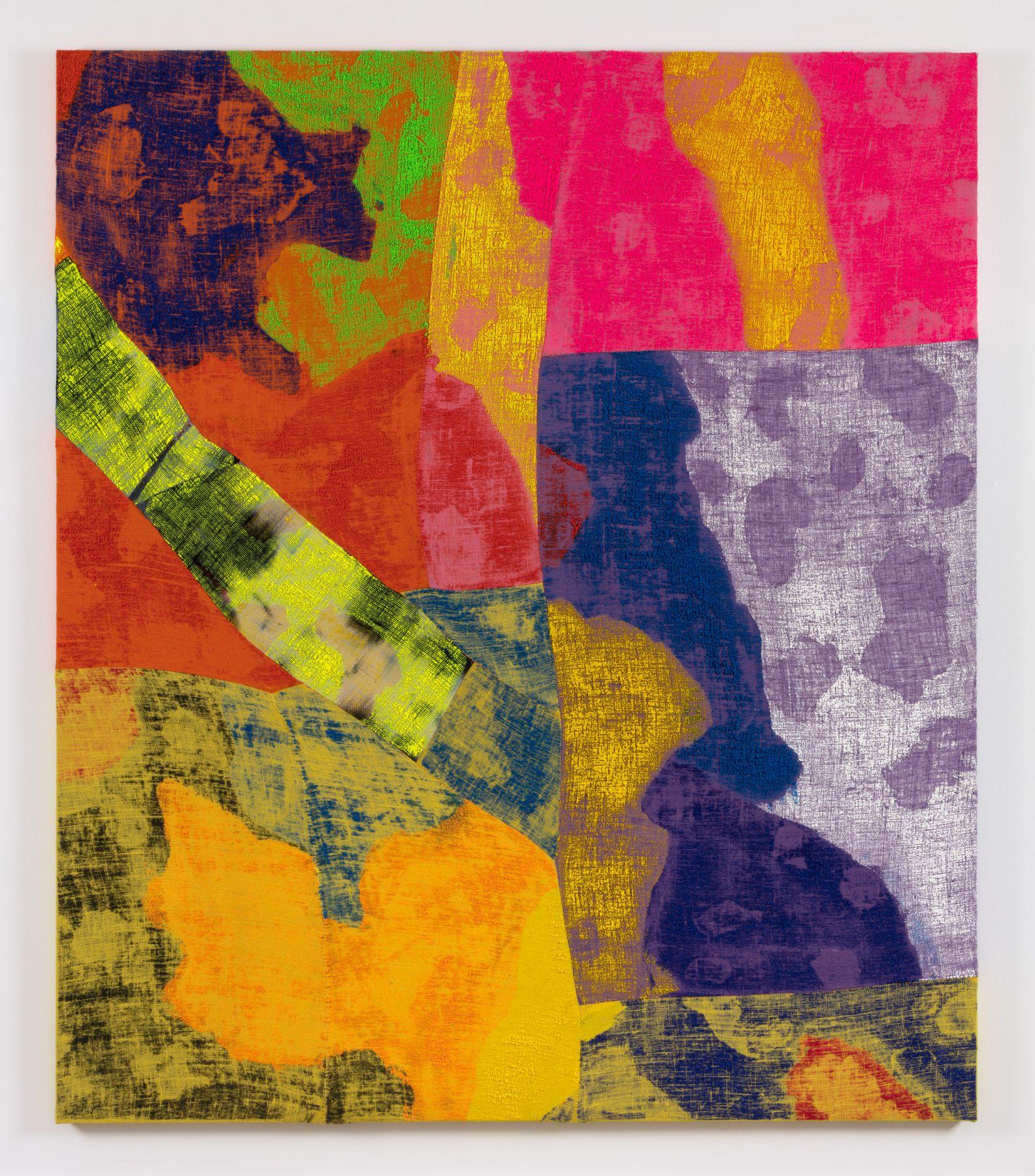 a multicolored acrylic work on burlap