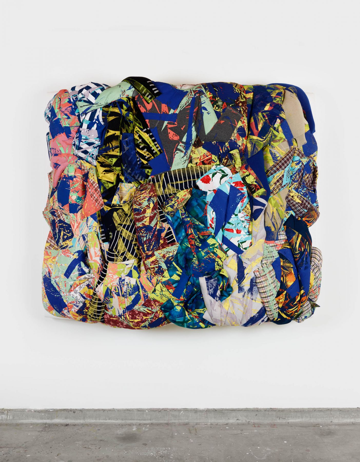 Untitled, 2017 Silkscreen on clothing, kapok, upholstery fabric, foam on wood support