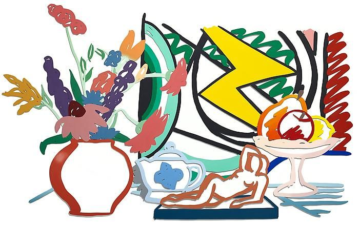 Tom Wesselmann, Still Life With Matisse and Licthenstein (Green), 1991Color enamel on laser cut aluminum relief sculpture58 x 97 inches (147.3 x 246.4 cm)Art © Estate of Tom Wesselmann/Licensed by VAGA, New York, NY
