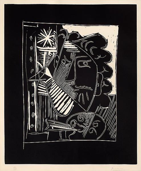 Pablo PicassoLa Peintre A La Palette, 1963Color linocut on paper25 x 20 3/4 inches (63.5 x 52.7 cm)