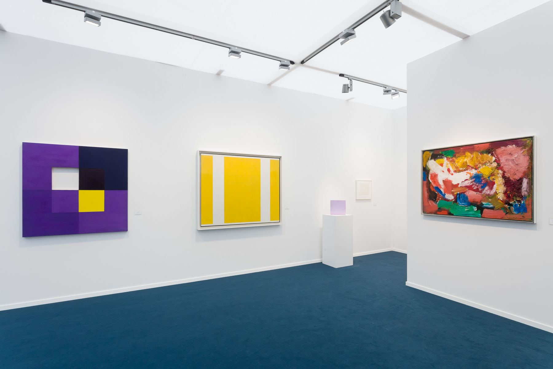 installation view of various abstract paintings at Frieze Masters London